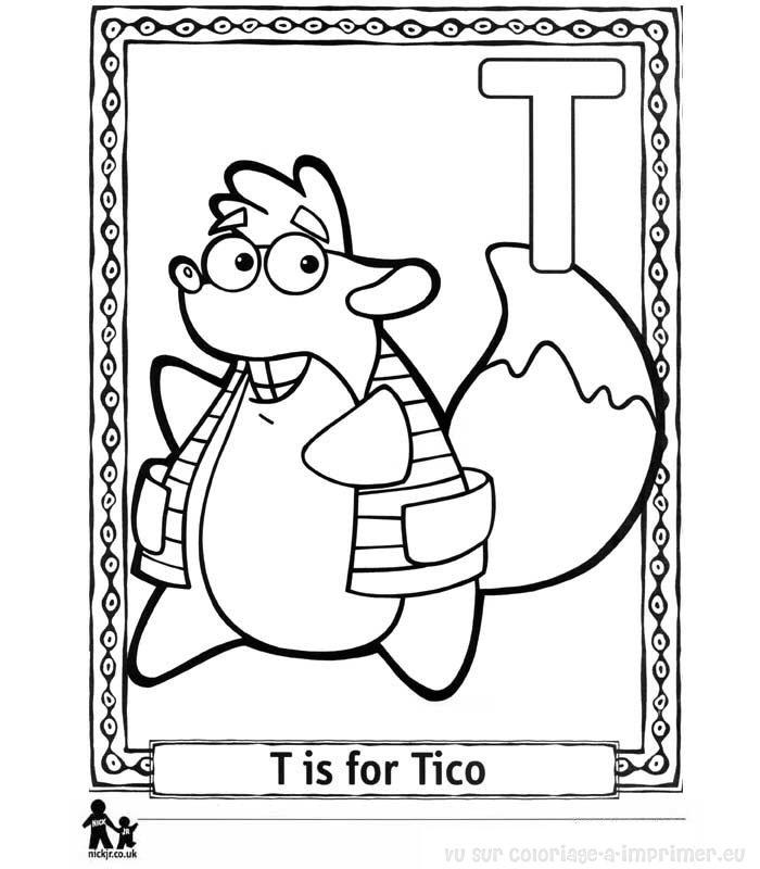 Coloriage Imprimer Alphabet Dora