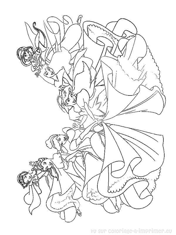 coloriage à imprimer coloriage princesses disney 001