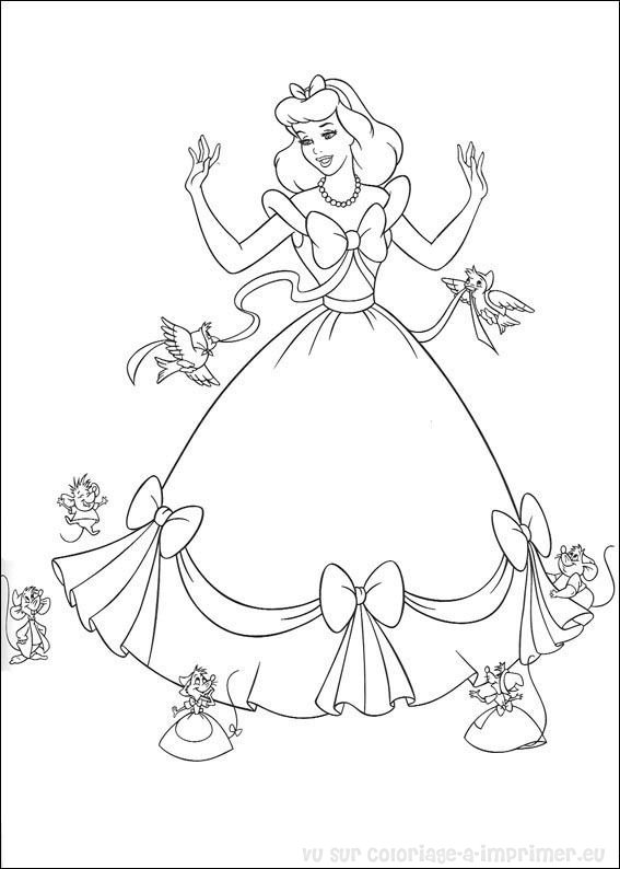 Coloriages princesses cendrillon - Dessin cendrillon ...