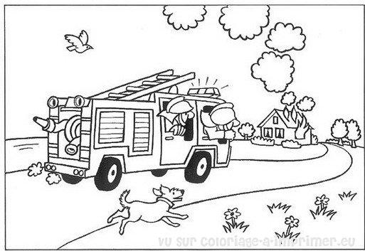 Coloriage imprimer coloriage pompier 011 - Dessin pompier facile ...